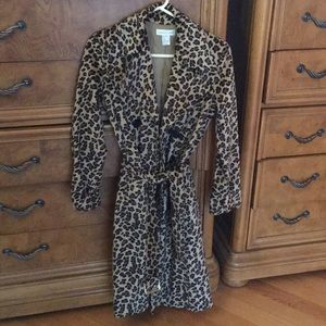 Women's faux suede trench coat in animal print.
